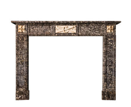 Victorian fire surround in striking veined marble isolated