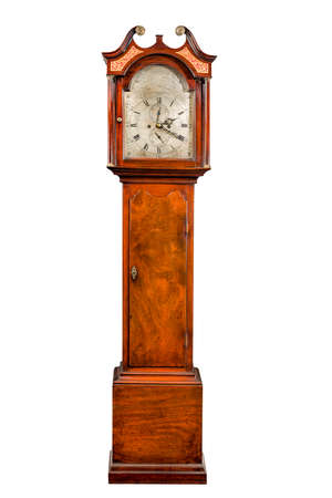 long: English antique tall pendulum long case clock known as grandfather clock for halls