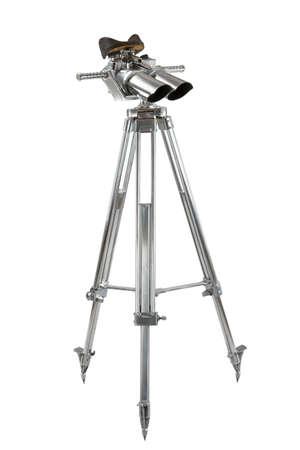 chromed: Binoculars from World War 2 chromed on tripod isolated on white Stock Photo
