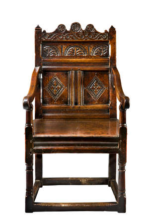 wainscot: Antique oak wainscot chair carved 16 -17th century