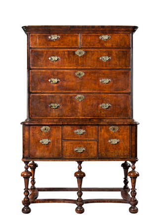 dresser: old antique wooden dresser or chest of drawers on stand English European,