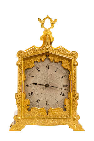 mantel: Carriage clock brass with carrying handle sometimes taken when traveling