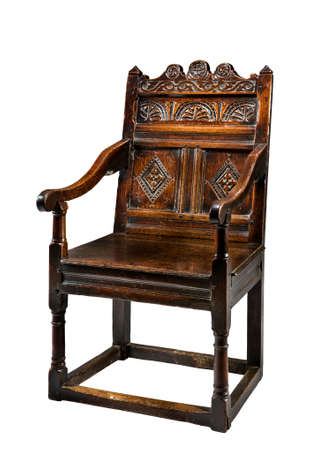 antique chair: Antique oak wainscot chair carved 16 -17th century