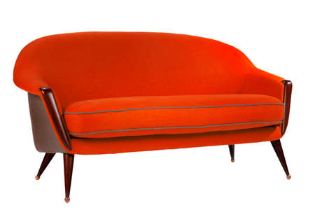 red sofa: Bright red coloured sofa retro style isolated on white