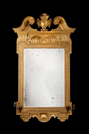 mirror on the wall: Mirror wall hanging formal vintage antique with original glass isolated on black