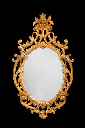 tarnish: Mirror wall hanging formal vintage antique with original glass isolated on black
