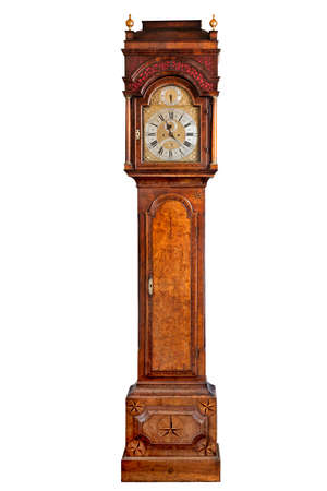 clock hand: English antique tall long case clock known as grandfather  pendulum clock for halls large rooms and houses Stock Photo