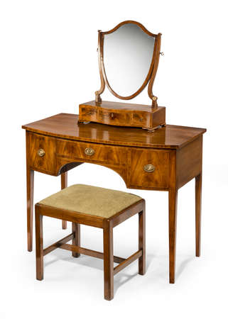Old Antique Dressing Table Set With Box Mirror Isolated With.. Stock Photo,  Picture And Royalty Free Image. Image 47681883.