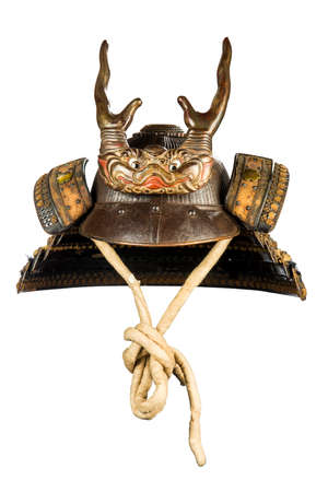 japanese people: Original ancient Japenese warrior soldiers horned helmet in excellent condition isolated on white Stock Photo