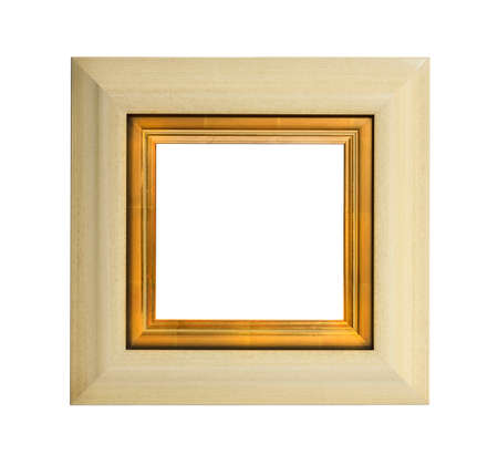 the gilding: Light colouredpainted square  wooden picture frame with inner gilding isolated with inner and outer clip paths