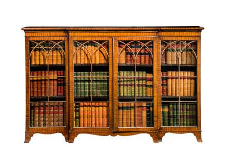 libros antiguos: Antique incrustaciones estantería de madera con puertas de cristal aislados en blanco