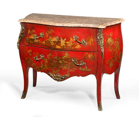 vintage furniture: old vintage antique chest of drawers known as commode  wood painted to look Japanese ormalu furniture and marble top isolated on white with clipping path