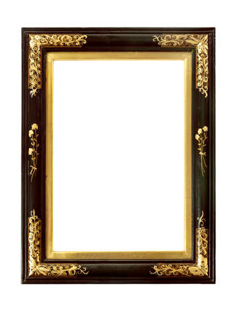 old frame: Old vintage antique original japenese or Chinese lacquered with gold picture frame isolated on white