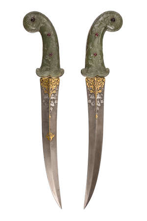 Old dagger vintage in Jade carved rare and collectible isolated on white.