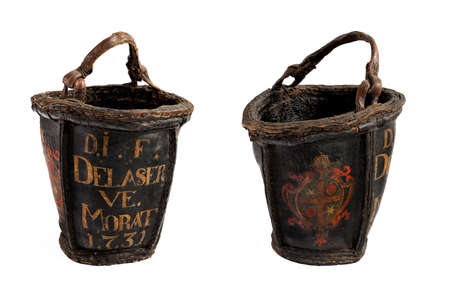 old antique leather painted fire buckets