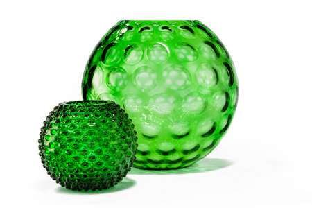 old vintage antique green glass  vase with striking dimple pattern effect