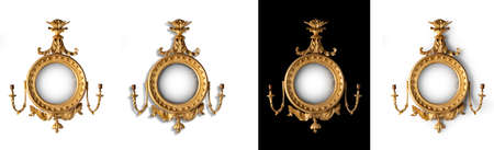 backgrouns: Gilded round hall mirror old antique convex with eagle and candle holders choice backgrouns and shadows or none