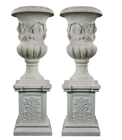 Old vintage marble garden urns isolated with clip ptath