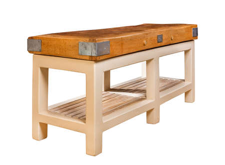 preperation: Old vintage butchers block table Pre 1914 made of beech Stock Photo