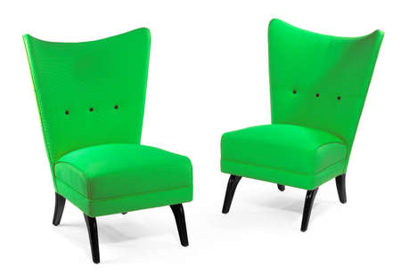 Stylish retro chairs brightly coloured isolated on white 免版税图像