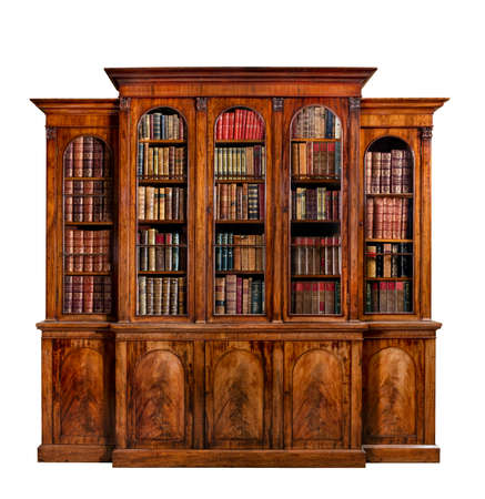 old antique bookcase English mahogany with books isolated on white with clip path 免版税图像 - 53585233