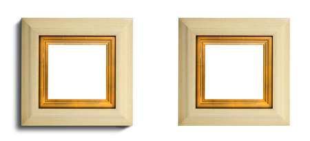 the gilding: Ivory cream painted square  wooden picture frame with inner gilding isolated with inner and  clip paths shadow or no shadow Stock Photo