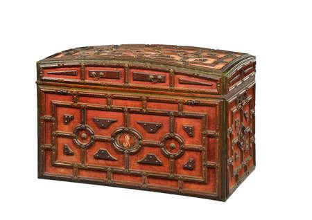 An old wooden velvet covered chest or trunk antique original