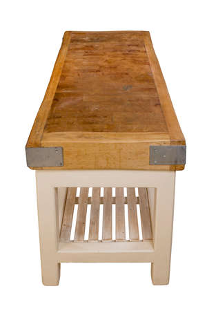 Old vintage butchers block table Pre 1914 made of beech 免版税图像