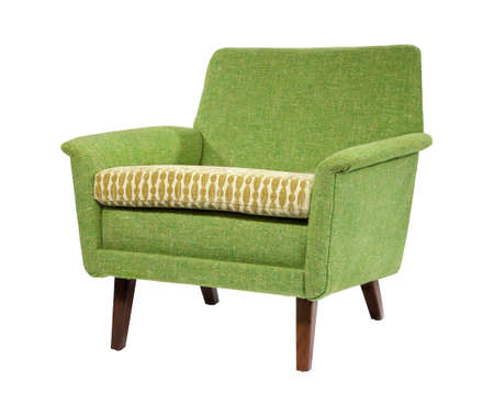 Bright colored chair retro style isolated on white with clipping path