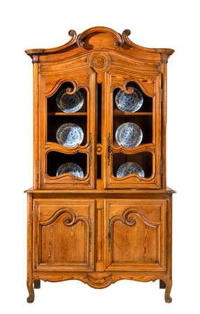 heavily: Vintage antique Pine kitchen dresser heavily carved Stock Photo