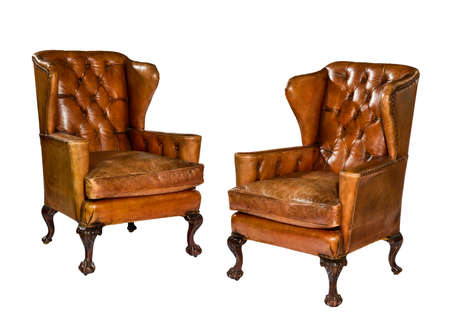 Pair old antique brown leather wing arm chair 18 - 19th century