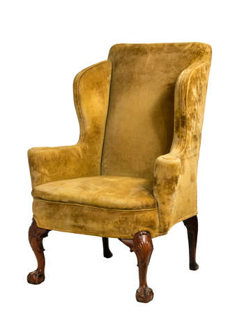 old antique upholstered in yellow material wing arm chair 18 - 19th century with clip path