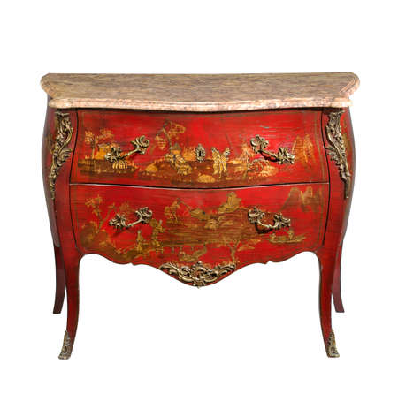 old vintage antique chest of drawers known as commode  wood painted to look Japanese ormolu furniture and marble top isolated on white with clipping path
