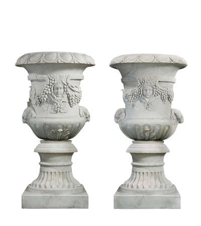 Old vintage marble garden urns isolated with clip path