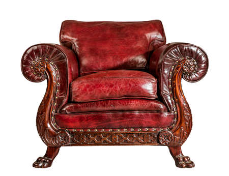 old comfortable antique red leather  arm chair 免版税图像