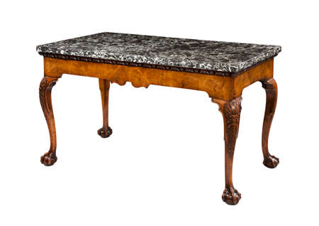 antique wooden table with marble top