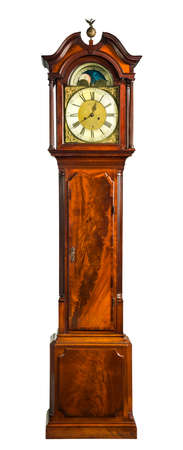 English antique tall long case clock known as grandfather  pendulum clock for halls large rooms and houses Stock Photo