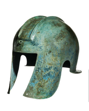 Early Grecian warriors original antique helmet found 免版税图像