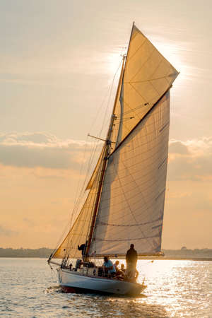 Old yacht over 100 years old sailing home