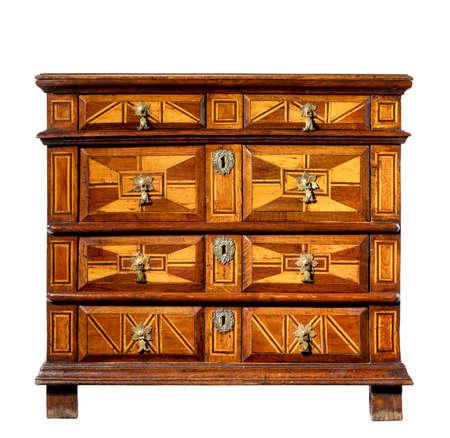#85059459   Alte Vintage Antiken Kofferraum Oder Kommode Kommode Holz Mit  Geometrischen Design Isoliert Auf Weiß Mit Beschneidungspfad.