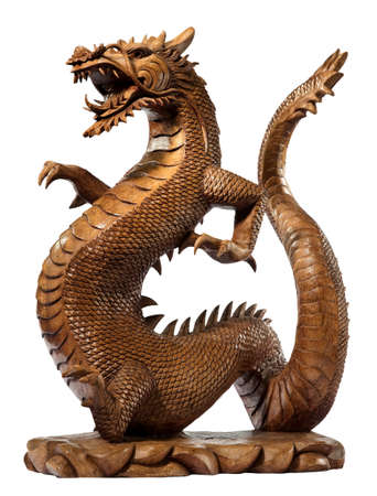 vintage dragon wooden carved isolated on white with clipping path