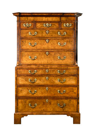 Antique dresser English European burr veneer also called chest on chest isolated on white with clipping path