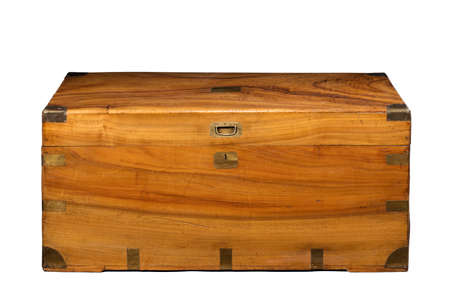 Lovely old antique or vintage teak wood trunk or travel chest isolated on white with clipping path