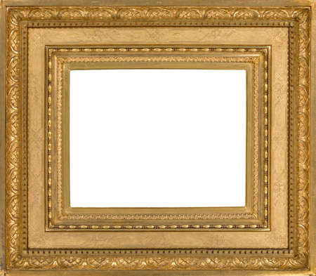 Guilded antique wooden picture frame isolated with inner clip paths