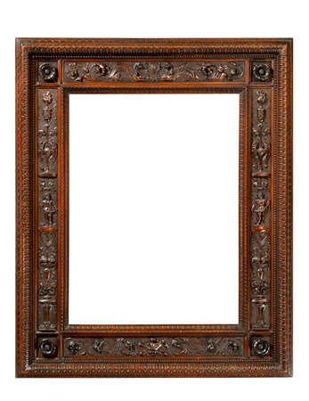 Old antiques picture frame exquisitely carved in the style of Chippendale with clipping paths