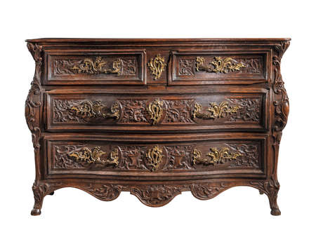 Dresser cabinet European heavily carved isolated on white with clipping path 免版税图像
