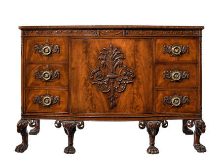 Fine dresser cupboard cabinet finely carved figuring with rams head feet made of mahogany European
