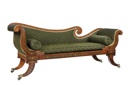 Chaise longue sofa sette made of mahogany with inlaid brass antique vintage