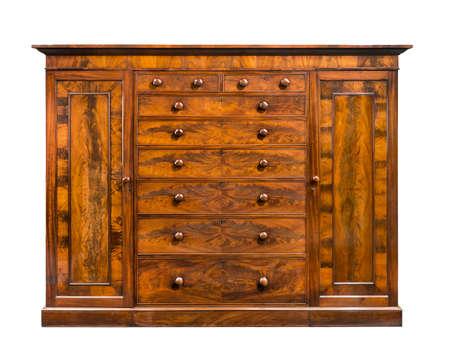 vintage wood wardrobe isolated on white