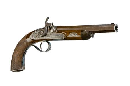 vintage percussion cap mechanism handgun or pistol, isolated on white 免版税图像 - 133412729